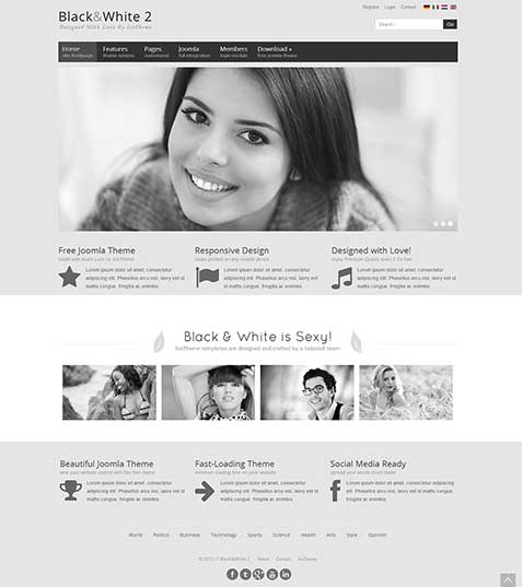 Шаблон Joomla - Black & White